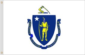 "12""x18"" Massachusetts Nylon Flag"