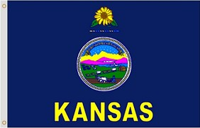 "12""x18"" Kansas Nylon Flag"